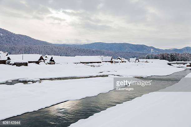 Frozen river in winter landscape/Xinjiang,China.