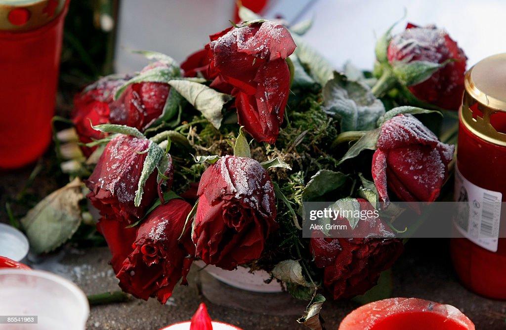 Frozen roses are seen outside Albertville high school on March 21 2009 in Winnenden near Stuttgart Germany 17 year old Tim Kretschmer opened fire on...