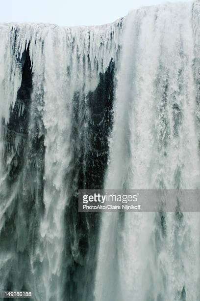 Frozen Skogafoss waterfall, Skogar, Iceland