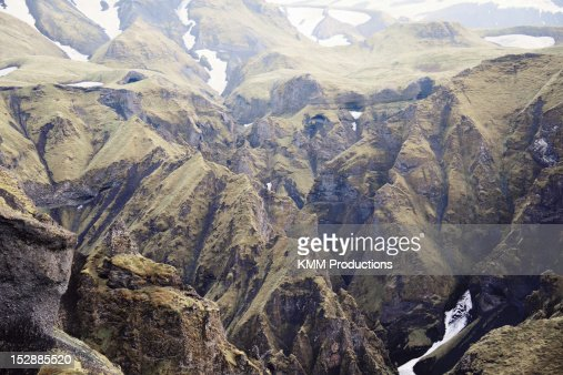 Frozen streams on rocky mountainsides