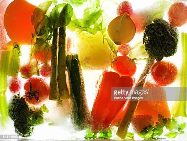 Frozen vegetables in ice