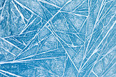 Frozen window decoration frame pattern. ice flowers texture. Winter still life photography. close-up, shallow depth of field.