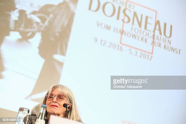 Frrancine Deroudille Atelier Robert Doisneau CoCurator of the exhibition attends a press conference during the 'Robert Doisneau Fotografien' press...