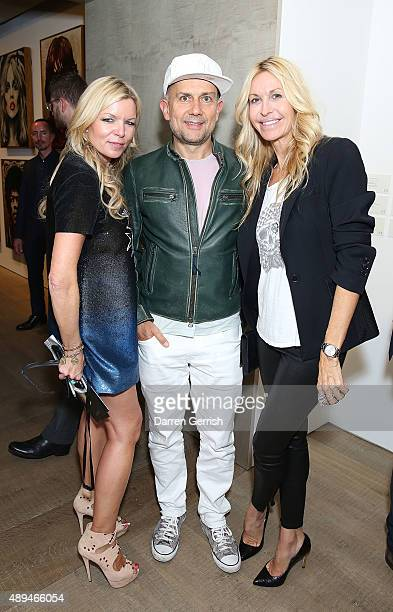 Fru Tholstrup Mark Quinn and Melissa Odabash attend as Tommy Hilfiger and Jeffrey Deitch present 'Rock Style' at the S2 Gallery during London Fashion...