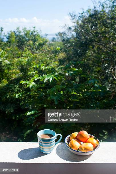 Fruit and coffee on a wall