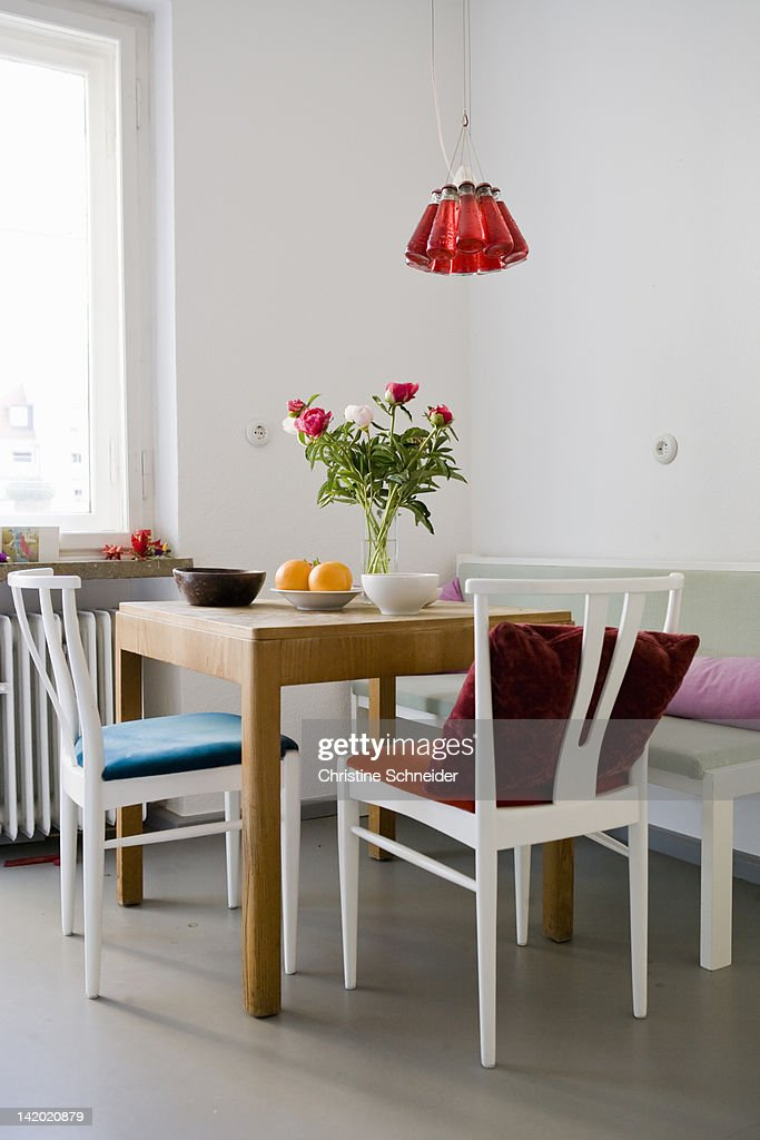 Fruit and flowers on table