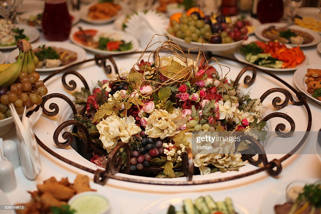 fruit and flowers on the table vegetarian holiday table setting  Stock Photo & Fruit And Flowers On The Table Vegetarian Holiday Table Setting ...