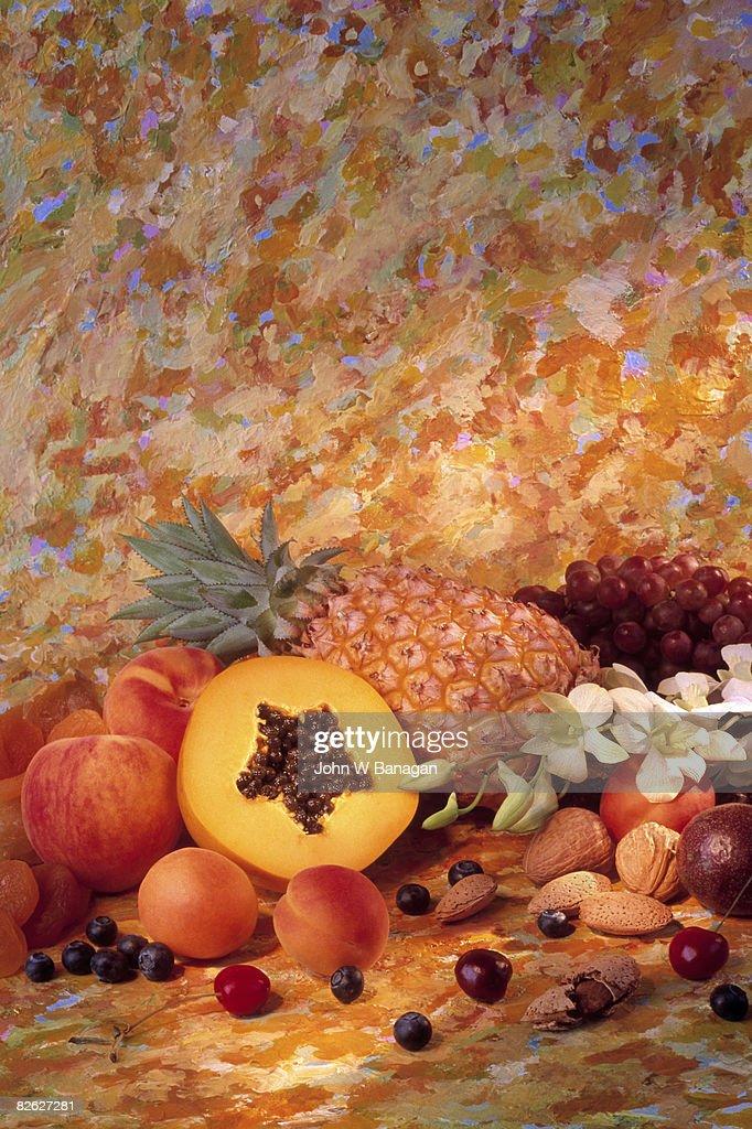 Fruit and nut still life : Stock Photo