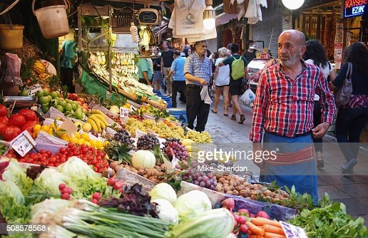 Fruit and veg market stall in Istanbul : Stock Photo