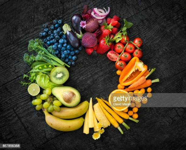Fruit and vegetable colour wheel on a black surface.