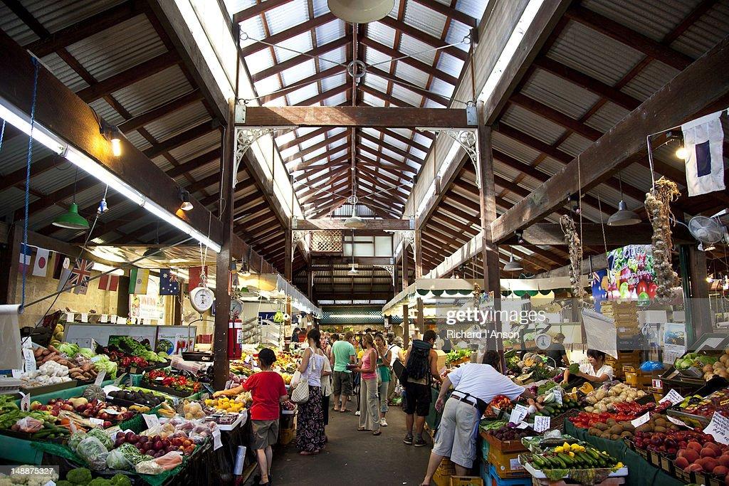 Fruit and vegetable stalls at Fremantle Markets.