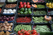 Fruit and vegetables are displayed for sale at a grocers shop on May 23 2014 in London United Kingdom Researchers at University College London...