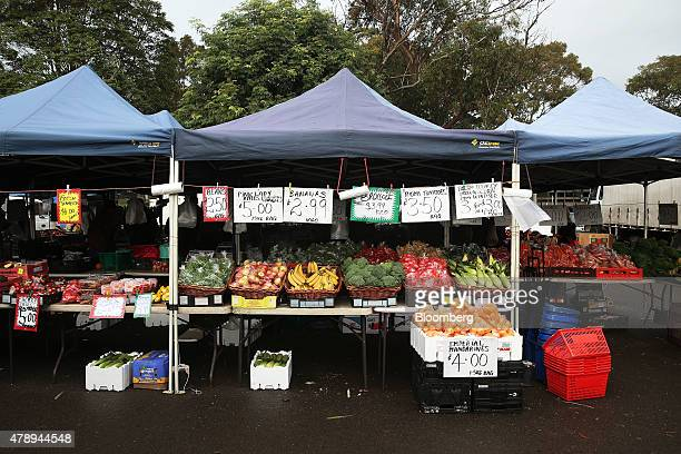 Fruit and vegetables are displayed for sale at a stall at the Frenchs Forest Organic food market in Sydney Australia on Sunday June 21 2015 Consumer...