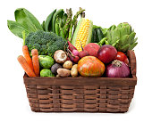 Fruit and vegetables basket isolated on white background.