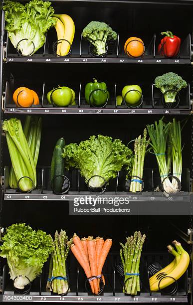 fruit and vegetables in a vending machine