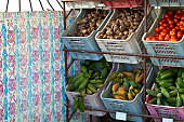 Fruit and vegetables in boxes, Havana, Cuba