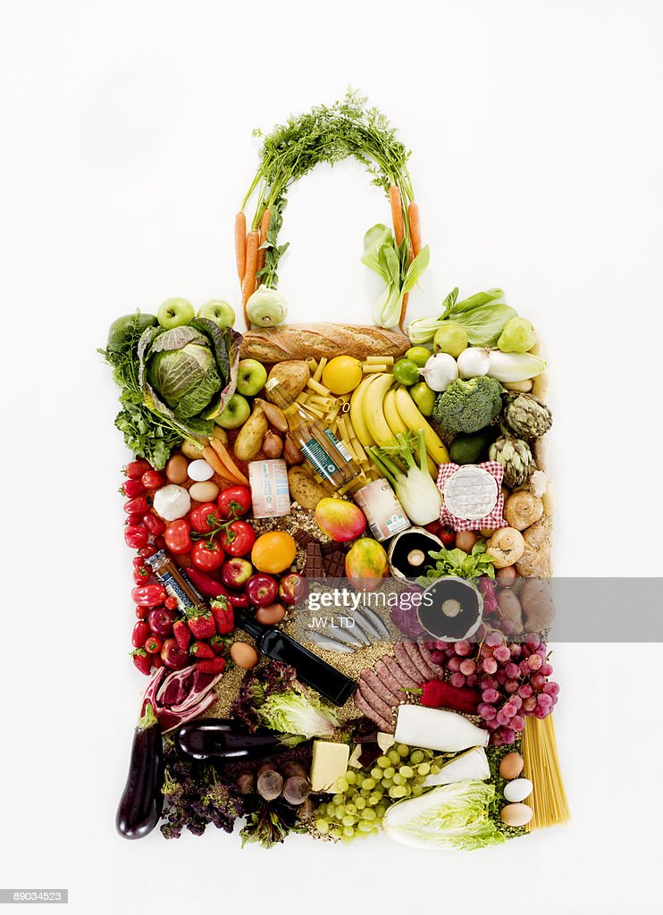 Fruit and vegetables in shape of shopping bag : Stock Photo