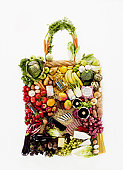 Fruit and vegetables in shape of shopping bag