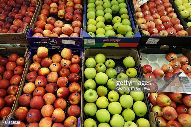 Fruit are displayed at a supermarket on August 18 2015 in Coutances northwestern France AFP PHOTO/CHARLY TRIBALLEAU