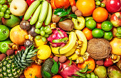 Fresh fruit background as healthy eating and dieting concept, winter assortment, top view