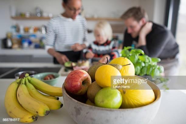 Fruit bowl with fresh fruit, close up