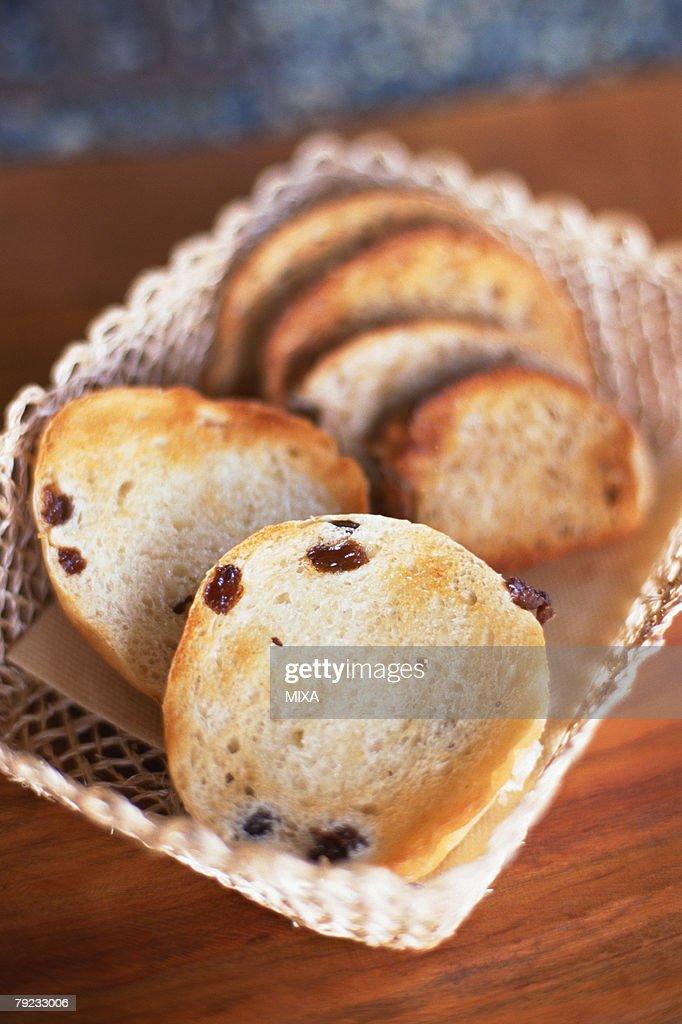 Fruit bread in basket : Stock Photo
