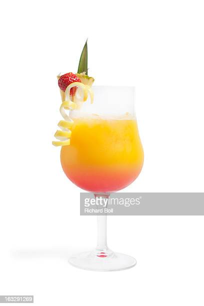 A fruit cocktail on a white background