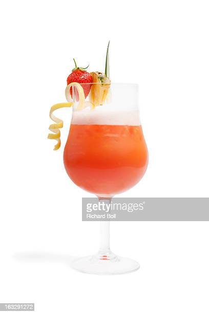 A fruit cocktail with pineapple and strawberry