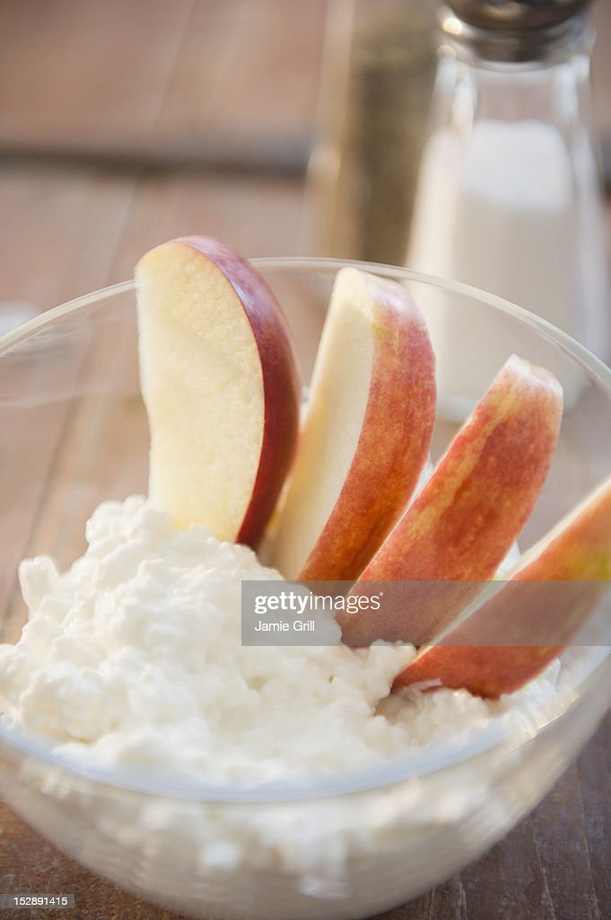 Fruit dessert with whipped cream : Stock Photo