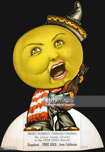 A fruit die cut advertisement is a singing grapefruit with a guitar promoting Pure Gold produce printed circa 1930 somewhere in California