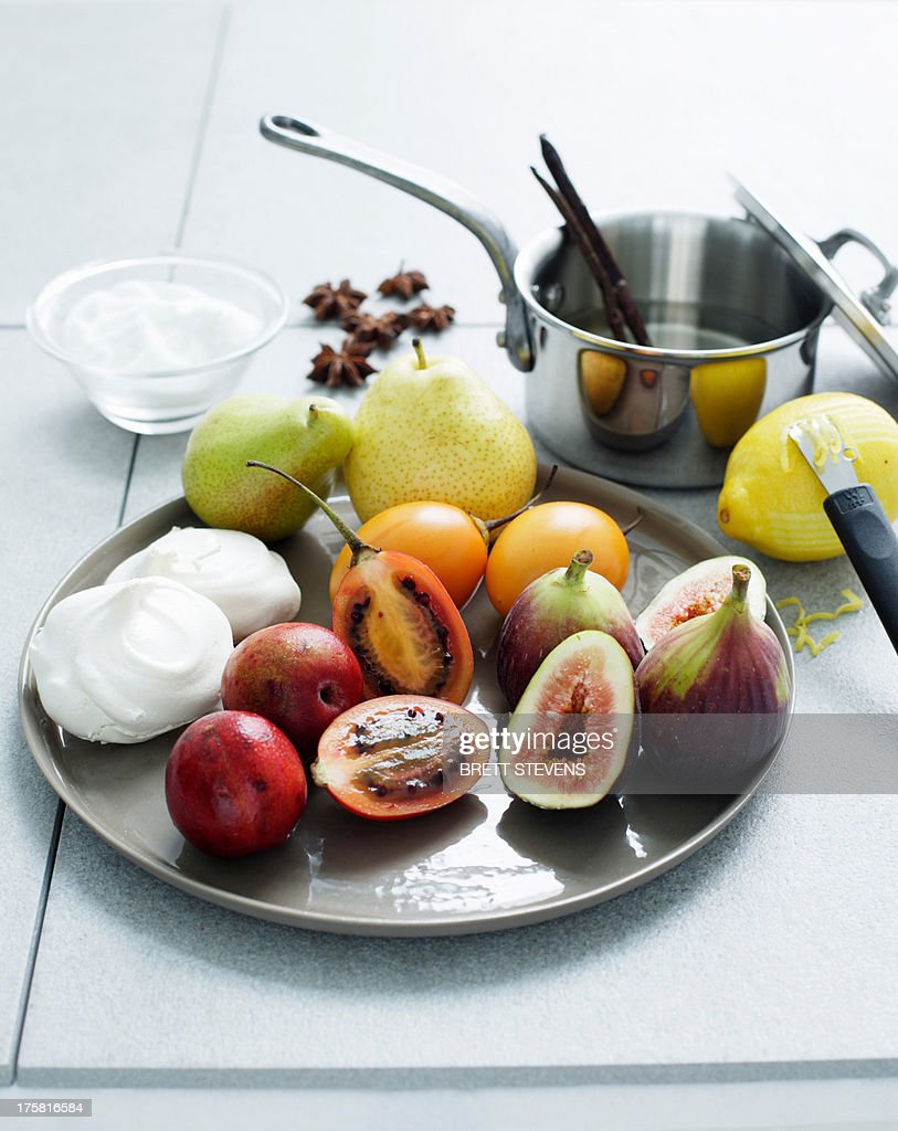Fruit ingredients for making meringue : Stock Photo