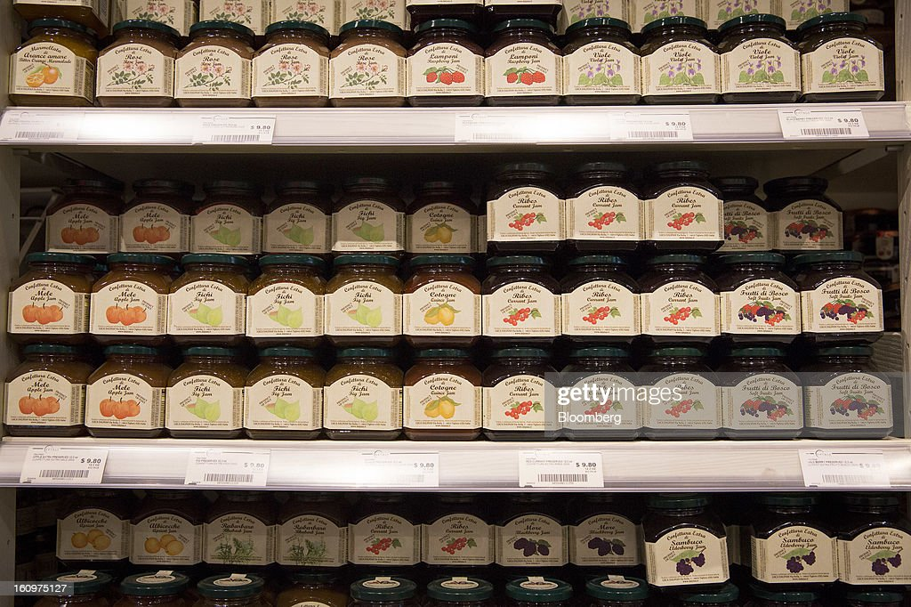Fruit jams are displayed for sale at an Eataly location in the Flatiron district of New York, U.S., on Wednesday, Feb. 6, 2013. Eataly is a high-end Italian food market/mall chain, owned by a partnership including Mario Batali, Lidia Bastianich and Joe Bastianich, which first opened in Turin, Italy, in 2007. Photographer: Scott Eells/Bloomberg via Getty Images