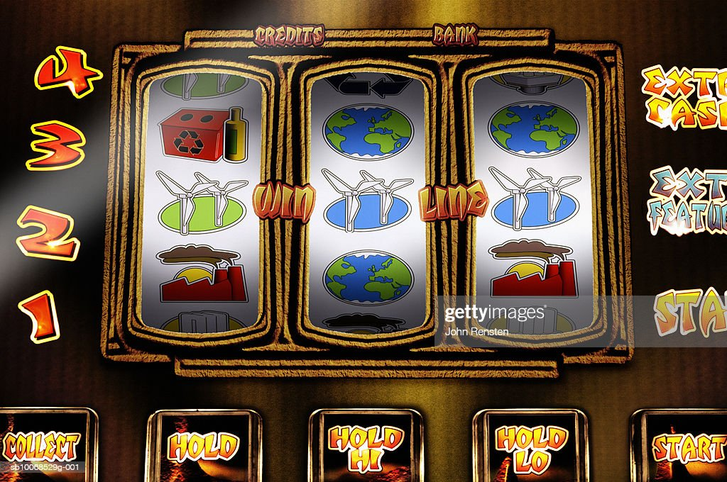 Fruit machine with environmental themed reels, close up : Stock Photo