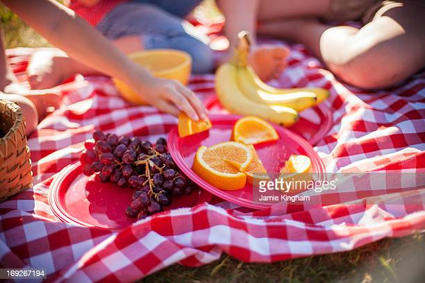 Fruit on picnic blanket in field