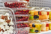 Cut fruit in plastic