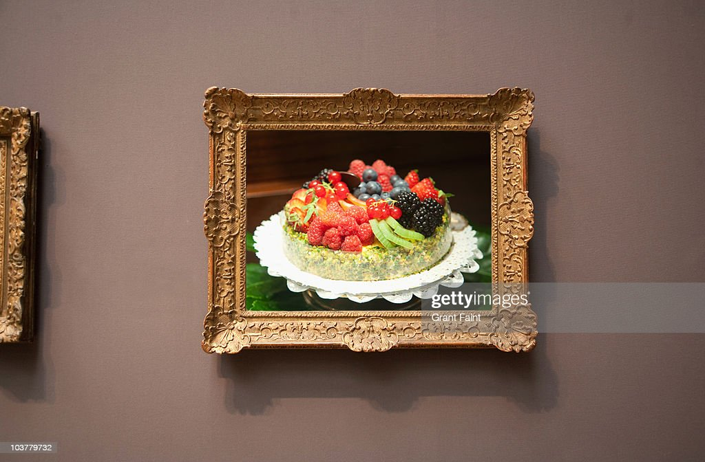 fruit pie flan photograph in frame