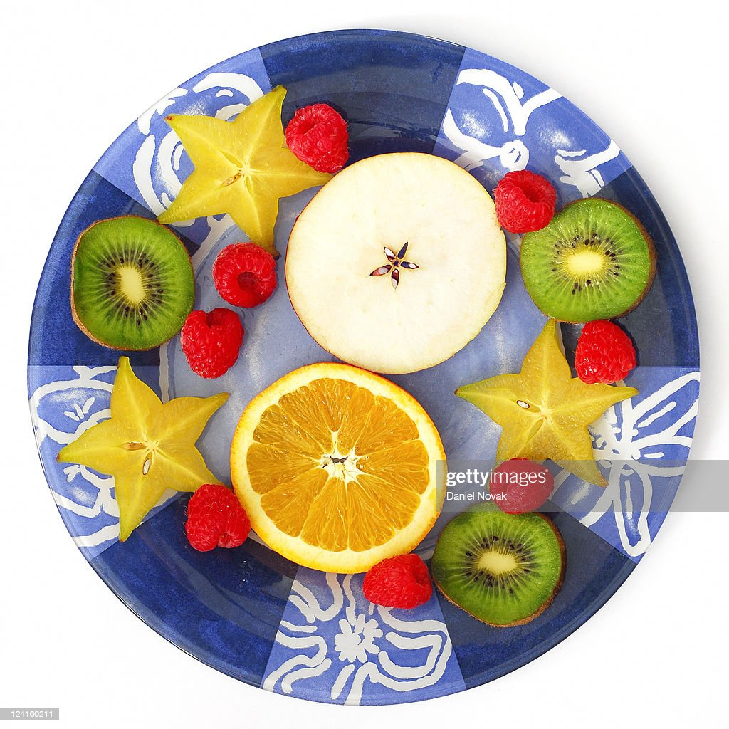 Fruit plate instead of cookies : Stock Photo
