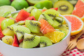 Fruit salad in white bowl for  healthy