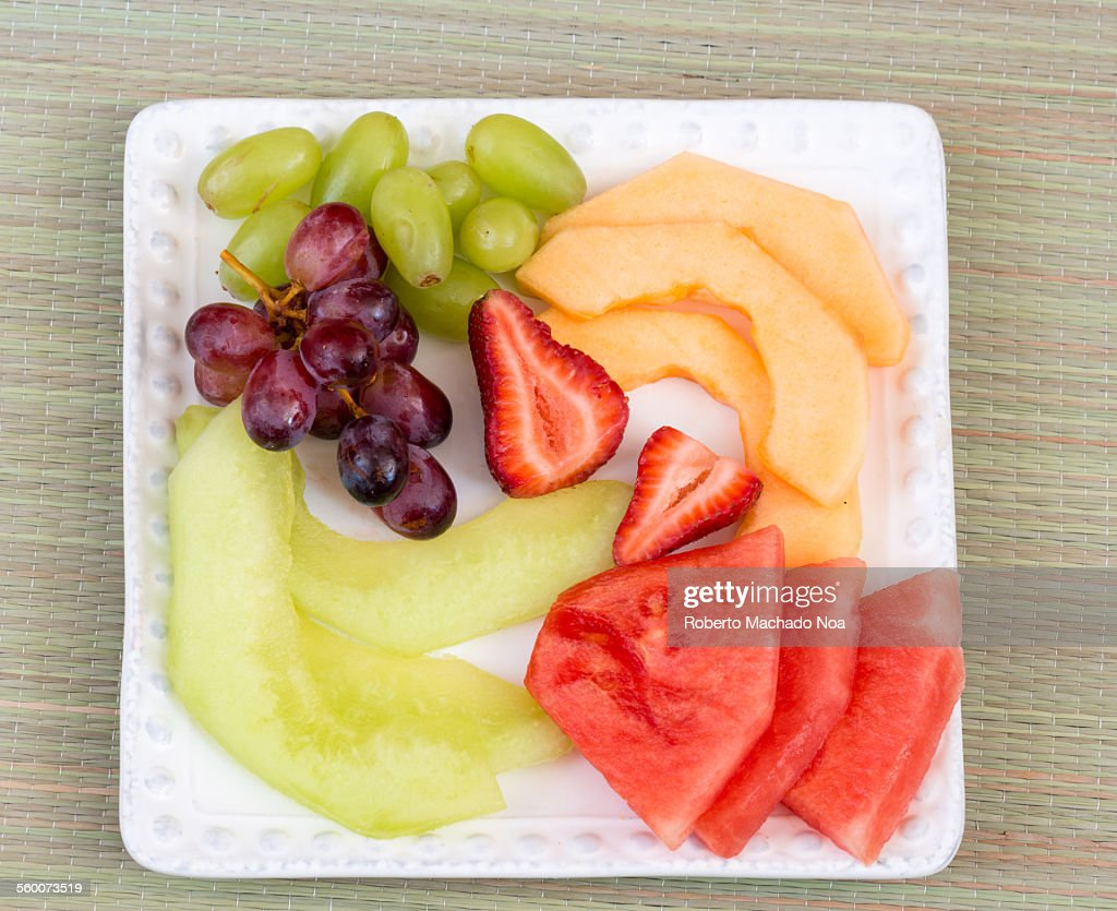 Fruit Salad: Grapes, Strawberries, and Melon