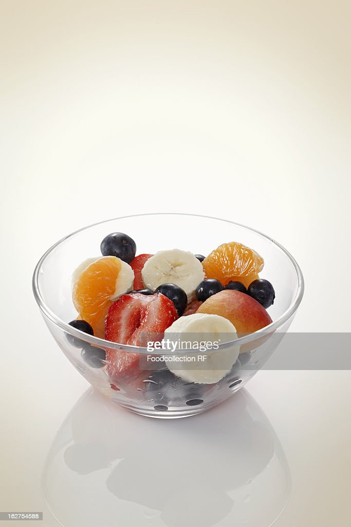 Fruit salad in glass bowl : Stock Photo