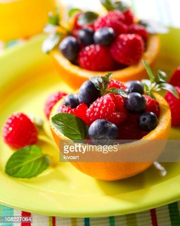 Macedonia di frutta a buccia d'arancia : Stock Photo
