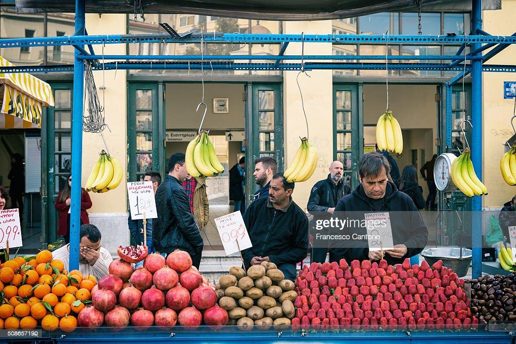 Fruit Seller, Monastiraki, Athens - Urban Scene : Stock Photo