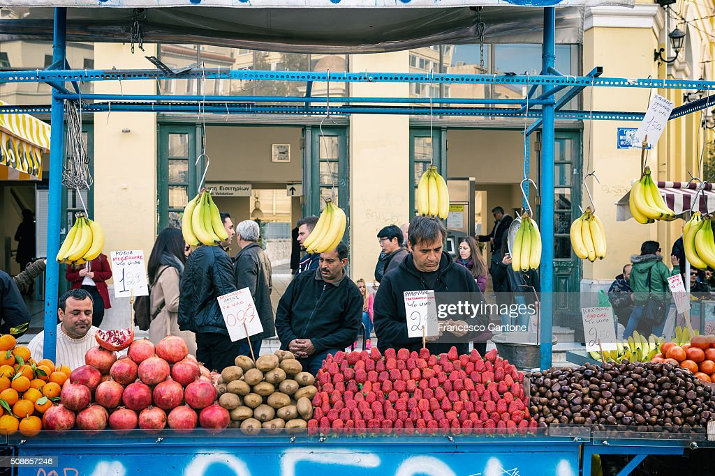 Fruit Seller, Monastiraki, Athens - Urban Scene : Stock Photo