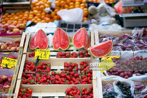Fruit sits on display at a market stall in Berlin Germany on Saturday May 23 2015 German investment and consumption rose last quarter in a sign of...