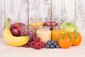 Jars with fruit smoothies for a baby