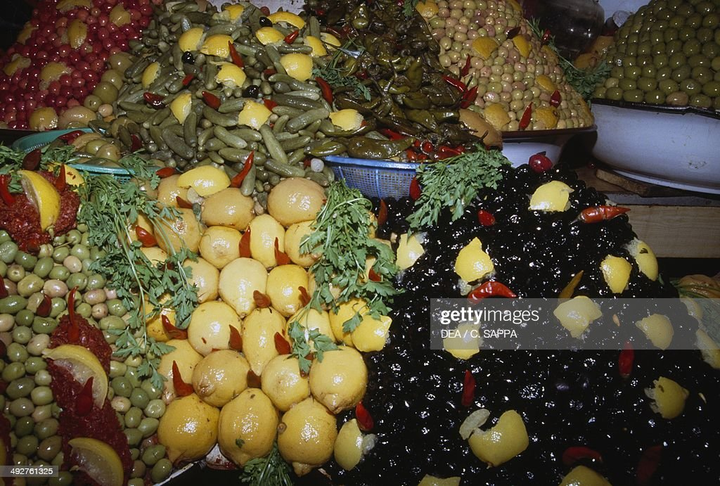 Fruit stall at the central market of Moulay Idriss Morocco