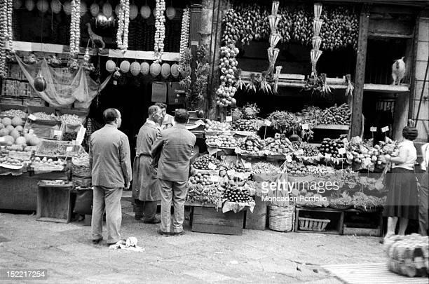 Fruit stall in 'Vucciria' quarter Palermo 1956