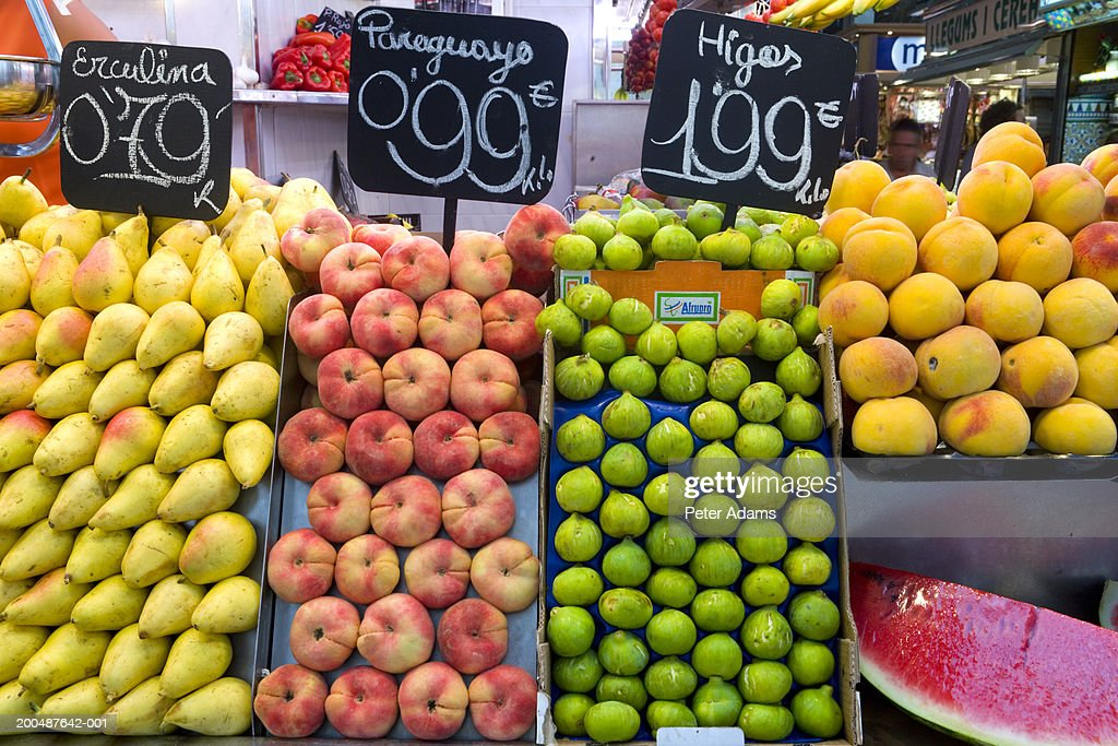 Fruit stall, La Boqueria Market, Las Ramblas, Barcelona, Spain : Stock Photo
