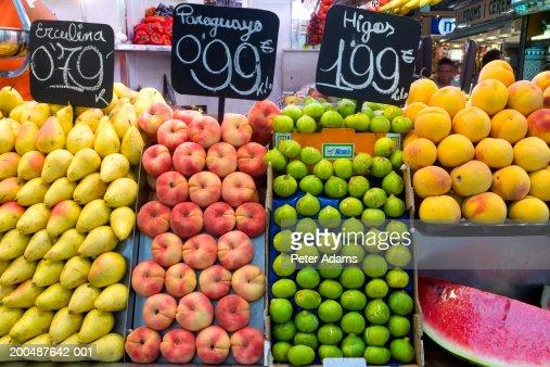 Fruit stall, La Boqueria Market, Las Ramblas, Barcelona, Spain : Stock Photo