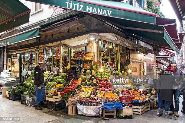 Fruit stalls at Istiklal street  flower market